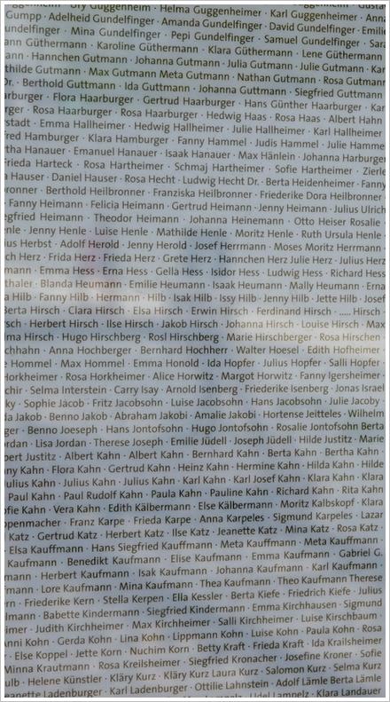 Gedenkstätte: Namen der Deportierten und Ermordeten