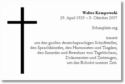 Schauplatz trauert um Walter Kempowski